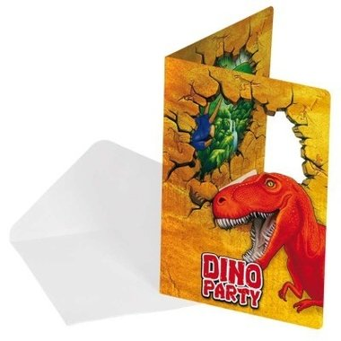 Uitnodigingen (6x) (Dinosaur Party)