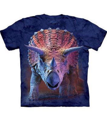 T-shirt Triceratops Charging (blauw)