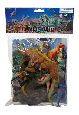 9 Dinosaurussen in een zak (circa: 12 x 5 cm)