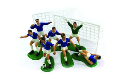 Blauwe voetballers (decoratie taart/cake)