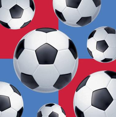 Servetten voetbalfeest 16x (blauw/rood)