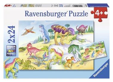 2 x 24 stukjes Kleurrijke dino's puzzel