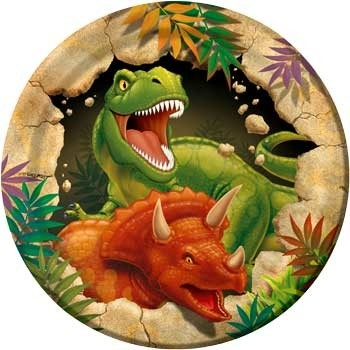 Bordjes (8x) taart 18 cm (Tyrannosaurus Feest)