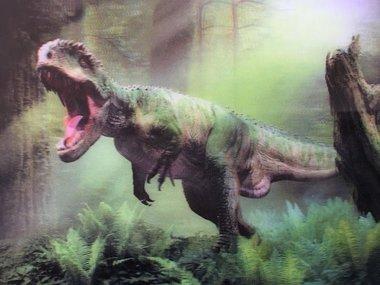 T-rex met bek open (Ansichtkaart 3D)