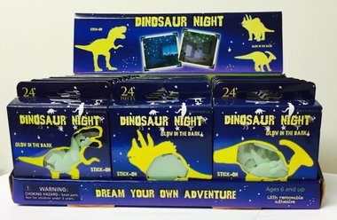 Glow in the dark (wand/muur) dinosaurus (24x)