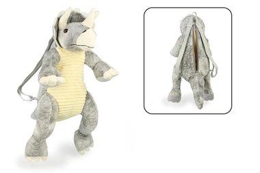 Rugtas (knuffel) Triceratops (grijs/stof)