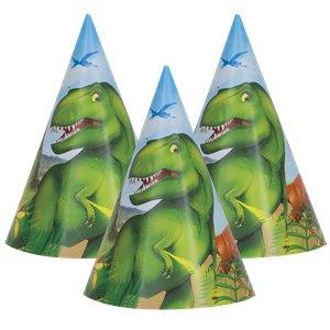 Hoedjes (8x) (papier) (Dinoworld Feest)