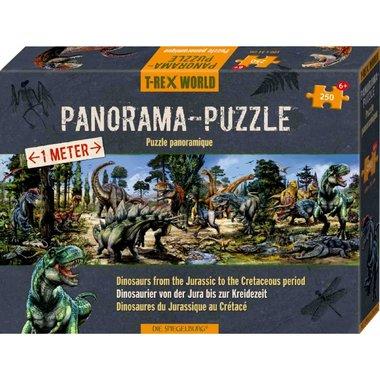 250 stukjes T-rex world Panorama Puzzel