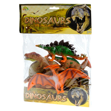 6 Dinosaurussen in een zak (diverse cm)