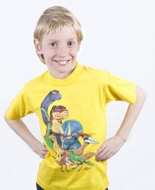 Dinosaurus shirt geel (maat 104-110)