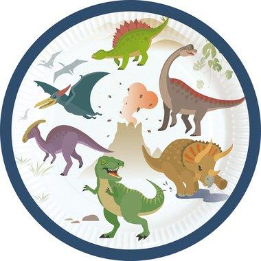 Bordjes (8x) taart 18 cm (Happy Dinosaur)