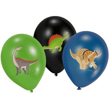 Ballonnen Dinosaurus (6x) (zwart-groen-blauw)