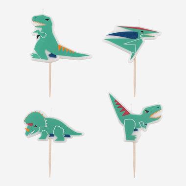 (4x) Dinosaurus kaarsjes