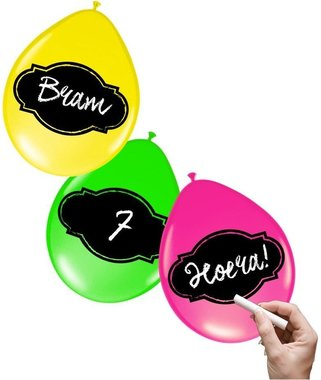 Beschrijfbare ballonnen (6x) (neon kleuren)