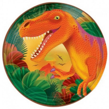 Bordjes (8x) taart 18 cm (Diplohosaurus feest)